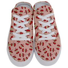 Red Apple Core Funny Retro Pattern Half Eaten On Pastel Orange Background Half Slippers by genx
