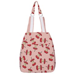 Red Apple Core Funny Retro Pattern Half Eaten On Pastel Orange Background Center Zip Backpack