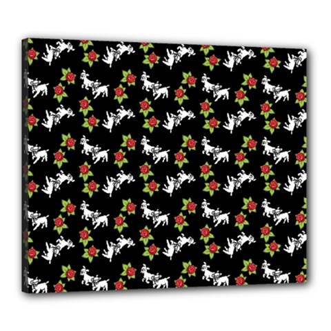 Lamb Pattern Black Canvas 24  X 20  (stretched)