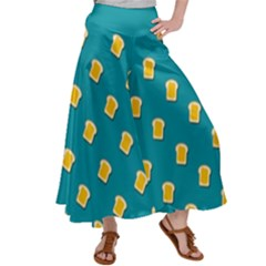 Toast With Cheese Funny Retro Pattern Turquoise Green Background Satin Palazzo Pants by genx