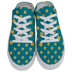 Toast With Cheese Funny Retro Pattern Turquoise Green Background Half Slippers by genx