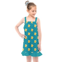 Toast With Cheese Funny Retro Pattern Turquoise Green Background Kids  Overall Dress by genx