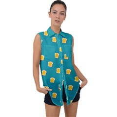 Toast With Cheese Funny Retro Pattern Turquoise Green Background Sleeveless Chiffon Button Shirt by genx