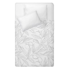 Organic Olive Leaves Pattern Hand Drawn Black And White Duvet Cover Double Side (single Size) by genx