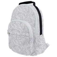 Organic Olive Leaves Pattern Hand Drawn Black And White Rounded Multi Pocket Backpack