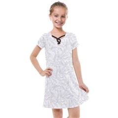Organic Olive Leaves Pattern Hand Drawn Black And White Kids  Cross Web Dress by genx
