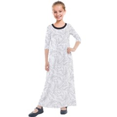 Organic Olive Leaves Pattern Hand Drawn Black And White Kids  Quarter Sleeve Maxi Dress by genx