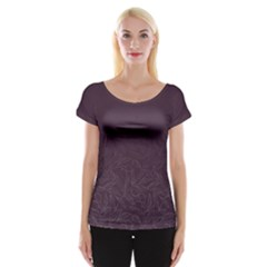 Organic Olive Leaves Pattern Hand Drawn Purple Red Wine Cap Sleeve Top by genx