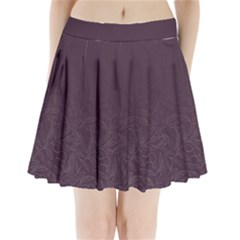 Organic Olive Leaves Pattern Hand Drawn Purple Red Wine Pleated Mini Skirt by genx