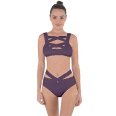 Organic Olive Leaves Pattern Hand Drawn Purple Red Wine Bandaged Up Bikini Set  by genx