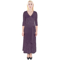 Organic Olive Leaves Pattern Hand Drawn Purple Red Wine Quarter Sleeve Wrap Maxi Dress by genx