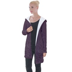 Organic Olive Leaves Pattern Hand Drawn Purple Red Wine Longline Hooded Cardigan by genx