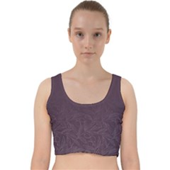 Organic Olive Leaves Pattern Hand Drawn Purple Red Wine Velvet Racer Back Crop Top by genx