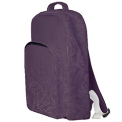 Organic Olive Leaves Pattern Hand Drawn Purple Red Wine Double Compartment Backpack by genx