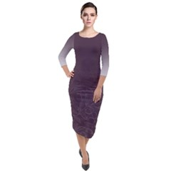 Organic Olive Leaves Pattern Hand Drawn Purple Red Wine Quarter Sleeve Midi Velour Bodycon Dress by genx