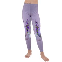 Happy Easter, Easter Egg With Flowers In Soft Violet Colors Kids  Lightweight Velour Leggings by FantasyWorld7