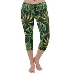 Green Tropical Leaves Capri Yoga Leggings by goljakoff