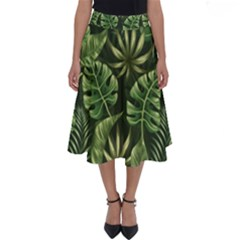 Green Tropical Leaves Perfect Length Midi Skirt