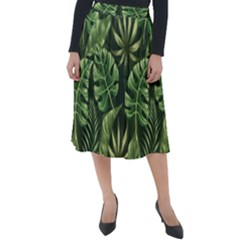 Green Tropical Leaves Classic Velour Midi Skirt  by goljakoff
