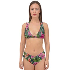 Tropical Flowers Paint Double Strap Halter Bikini Set by goljakoff