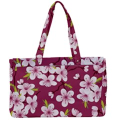 Cherry Flowers Pattern Canvas Work Bag