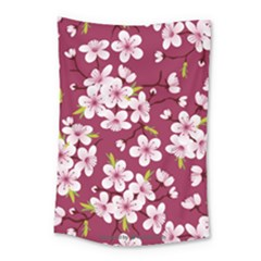 Cherry Flowers Pattern Small Tapestry by goljakoff