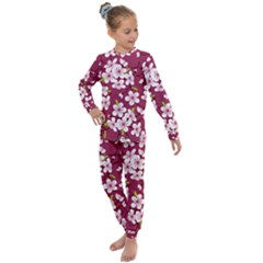Cherry Flowers Pattern Kids  Long Sleeve Set  by goljakoff