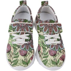 Flowers Ornament Kids  Velcro Strap Shoes by goljakoff