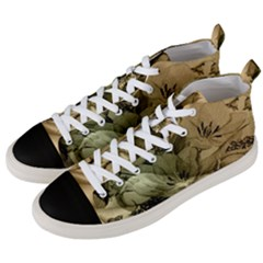 Wonderful Floral Design With Butterflies Men s Mid-top Canvas Sneakers by FantasyWorld7