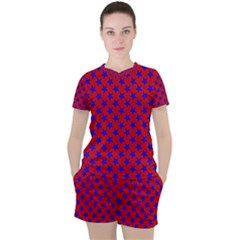 Blue Stars Pattern On Red Women s Tee And Shorts Set by BrightVibesDesign