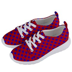 Blue Stars Pattern On Red Women s Lightweight Sports Shoes by BrightVibesDesign
