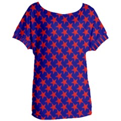 Red Stars Pattern On Blue Women s Oversized Tee by BrightVibesDesign