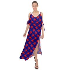 Red Stars Pattern On Blue Maxi Chiffon Cover Up Dress