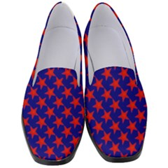 Red Stars Pattern On Blue Women s Classic Loafer Heels by BrightVibesDesign
