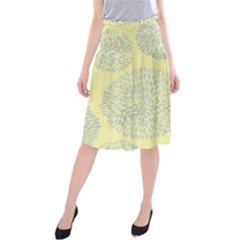 Spring Dahlia Print   Pale Yellow & Light Blue Midi Beach Skirt