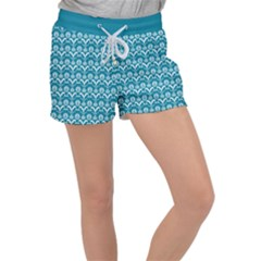 Easter Damask Pattern Deep Teal Blue And White Women s Velour Lounge Shorts