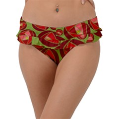 Abstract Rose Garden Red Frill Bikini Bottom