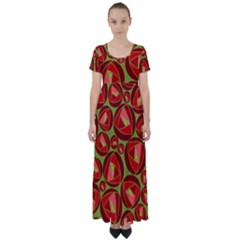 Abstract Rose Garden Red High Waist Short Sleeve Maxi Dress