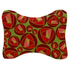 Abstract Rose Garden Red Velour Seat Head Rest Cushion