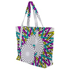 Sun Abstract Mandala Plaid Zip Up Canvas Bag