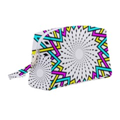Sun Abstract Mandala Plaid Wristlet Pouch Bag (medium)