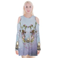 Easter Egg With Flowers Velvet Long Sleeve Shoulder Cutout Dress