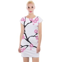 Blossoms Branch Cherry Floral Cap Sleeve Bodycon Dress