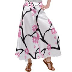 Blossoms Branch Cherry Floral Satin Palazzo Pants
