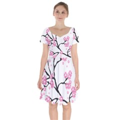 Blossoms Branch Cherry Floral Short Sleeve Bardot Dress