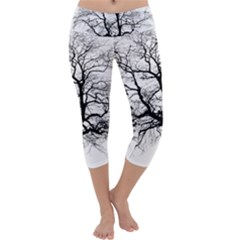 Tree Silhouette Winter Plant Capri Yoga Leggings