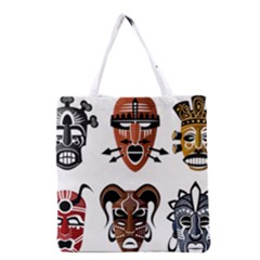 Tribal Masks African Culture Set Grocery Tote Bag by Pakrebo