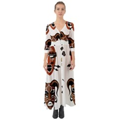 Tribal Masks African Culture Set Button Up Boho Maxi Dress