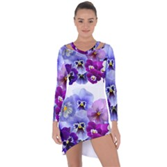 Pansy Isolated Violet Nature Asymmetric Cut Out Shift Dress