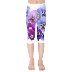 Pansy Isolated Violet Nature Kids  Capri Leggings